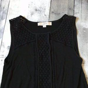 LOFT Black Sleeveless Crochet Detail Top - 543